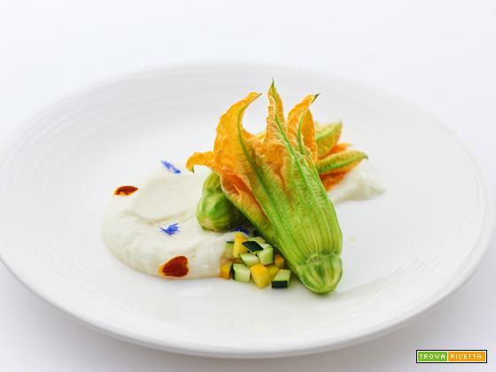 risotto alle zucchine e il suo fiore