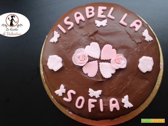 Compleanno delle Gemelle: torta madeira alla vaniglia con copertura di ganache fondente