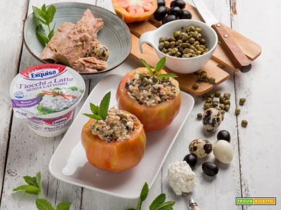Pomodori ripieni di tonno, capperi, olive e fiocchi di latte