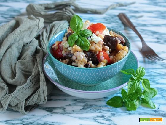 Orzo con Melanzane e Feta in insalata