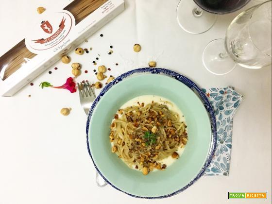 Spaghetti di Canossa con ragù di fegatini, fonduta di Lou Bergier e nocciole tostate