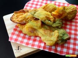 Fiori di zucchine pastellati, in friggitrice ad aria