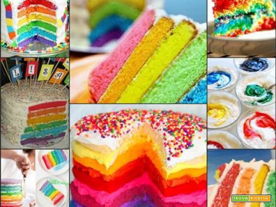 Torta arcobaleno per un compleanno colorato