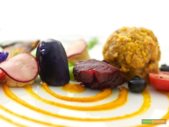 Gramigna – miglio con edamame, salsa di carote alla senape e barbabietola al sale
