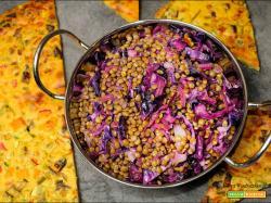 Lenticchie con cavolo rosso e cecina alle verdure