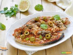 Pesce spada gratinato con pomodoro e olive