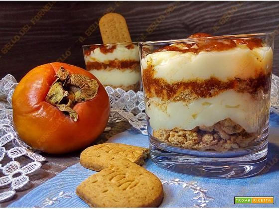 Dessert con crema di cachi e panna