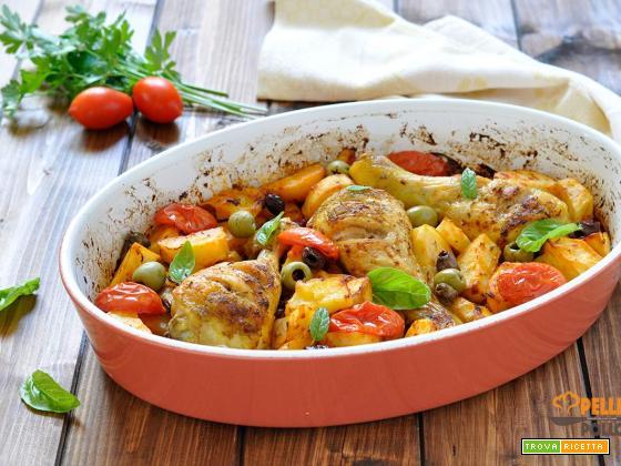 Pollo alla contadina con patate e pomodoro
