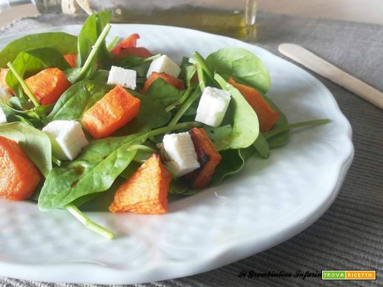 Insalata di spinacini, zucca e feta