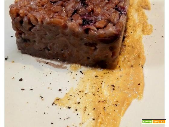 Farrotto al radicchio rosso mantecato con burro d'arachidi