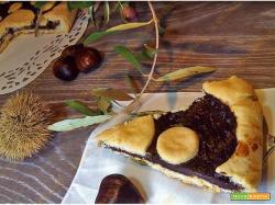 Crostata di pasta frolla all'olio con crema di castagne