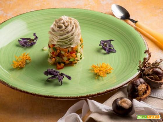 Patè di castagne su tartare di verdure all'aceto di miele, troppo buono