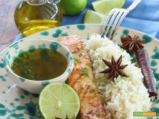 Salmone alla griglia con Basmati pilaf al Cocco e Spezie