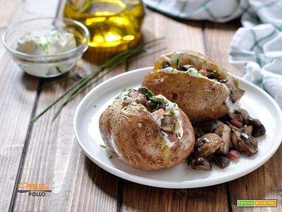 Patate ripiene con funghi e pancetta (baked potatoes)