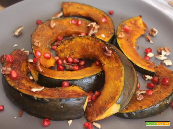 Zucca glassata al forno con melagrana e noci pecan