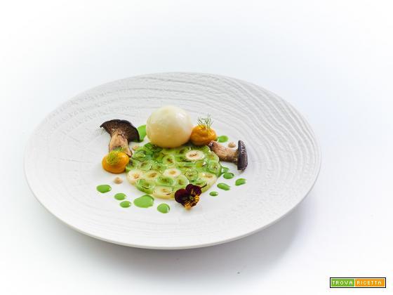 Preludio - rapa ripiena con porri e cardoncelli arrostiti, zucca piccante e miso
