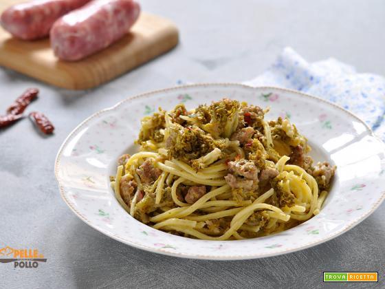 Spaghetti con salsiccia e broccoletti