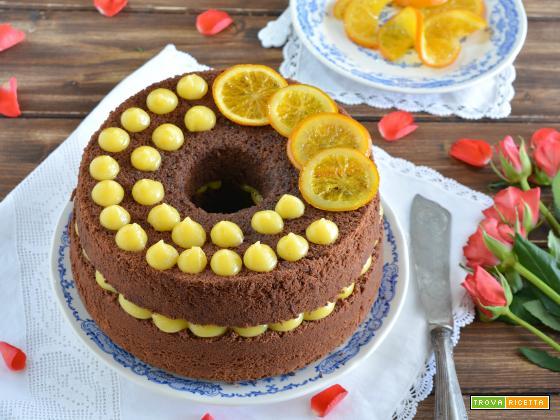 Chiffon cake al cacao con crema all'arancia