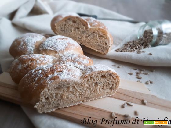 TRECCIA di pane all'ORZO e semi di girasole