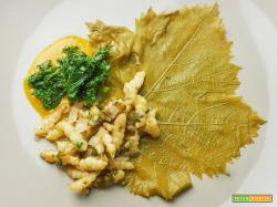 tuberinina stufata con foglie di vite croccante
