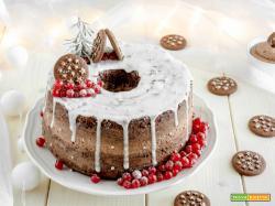 Chiffon cake al doppio cioccolato con crema alle nocciole e Pan di Stelle