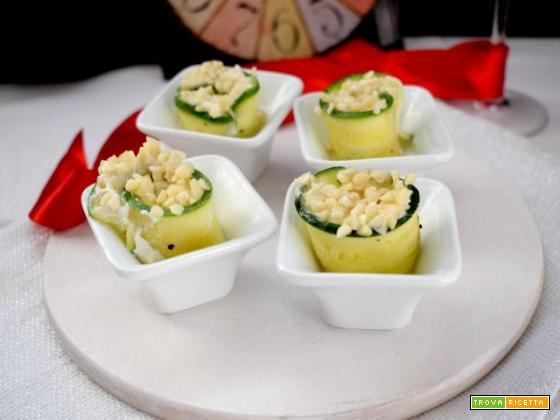 Zucchine arrotolate con ricotta e mandorle