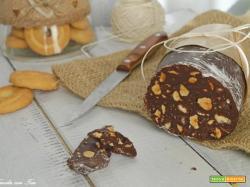 Salame di cioccolata senza uova anche in versione gluten free