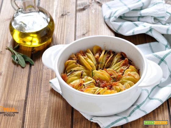 Torta di patate al forno con erbe e pancetta