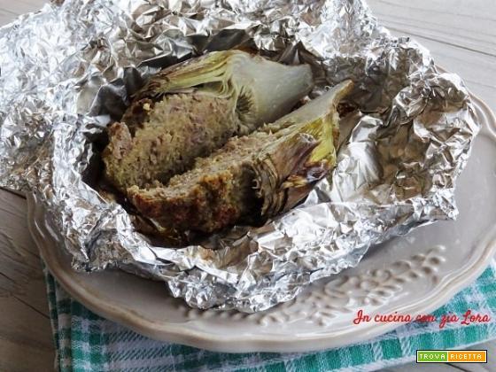 Carciofi ripieni di carne al forno
