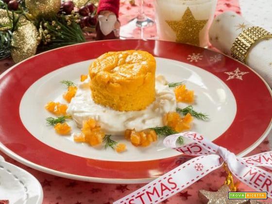 Sublime tortino di zucca su crema di stracciatella e canditi all'arancio