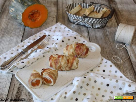 Involtini di pollo con zucca e pancetta