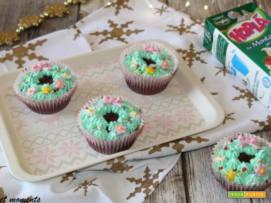 Muffin al cioccolato con ghirlanda