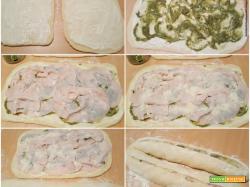 Ciambella salata intrecciata con pesto di pistacchio e arrosto di tacchino