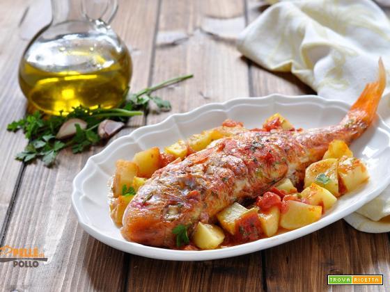 Triglie al forno con patate e pomodori