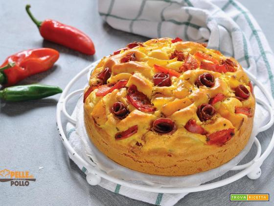 Torta salata ai peperoni e salame piccante