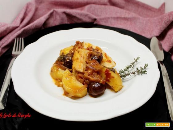 Baccalà con olive e patate piatto gustoso