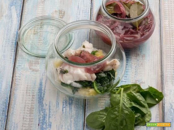 Patate, cipolle in agrodolce e coda di rospo agli spinaci