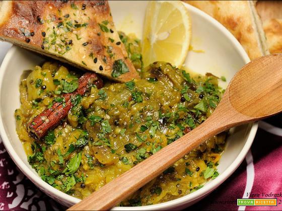 Baingan Bharta Melanzana al forno senza pomodoro