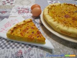 Quiche Lorraine senza panna, con zucca patate e gorgonzola