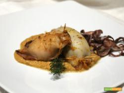 Calamari ripieni con crema di zucca e castagne