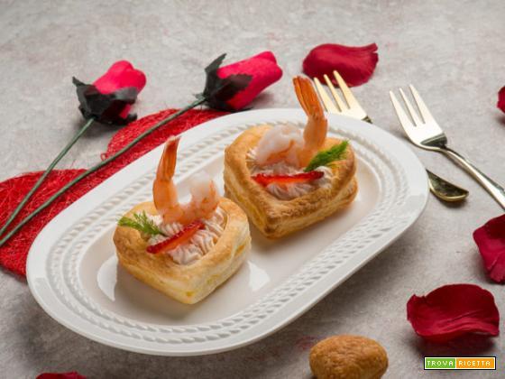 Cuori di sfoglia con formaggio e gamberi… a San Valentino!