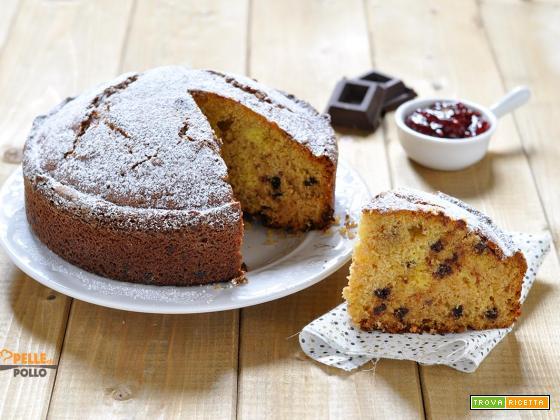 Torta soffice con marmellata e gocce di cioccolato