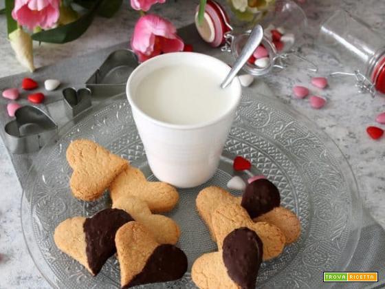 Un'affettuosa colazione con cuoricini al cocco e cioccolato