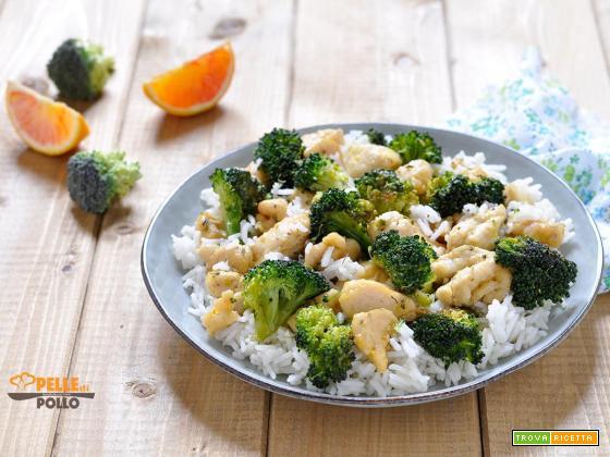 Pollo con broccoletti e riso basmati