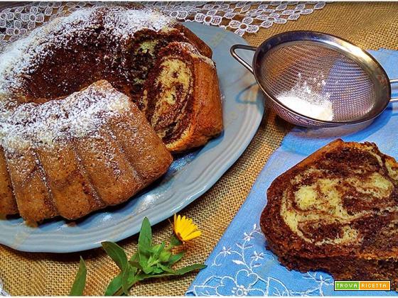 Ciambella variegata al cacao | ricetta senza bilancia