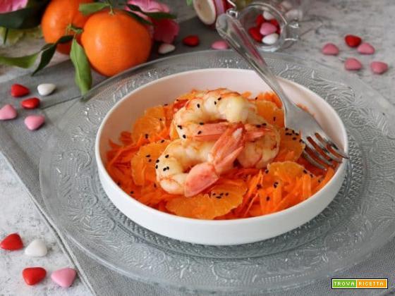 Insalata di carote, mandarini e gamberoni allo sherry