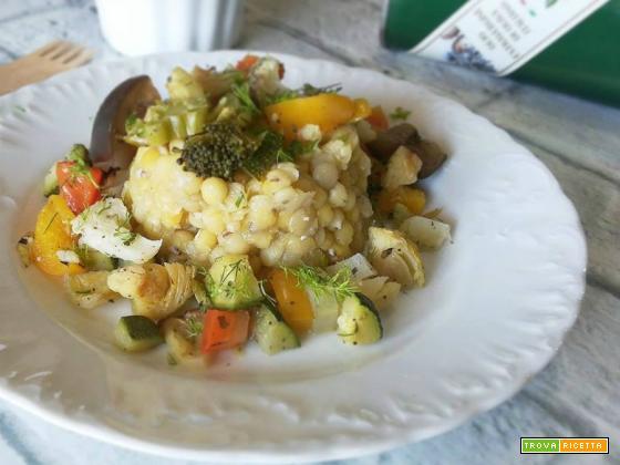 Roveja decorticata con verdure al forno