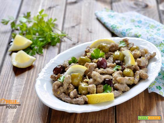 Straccetti di manzo alle olive e limone