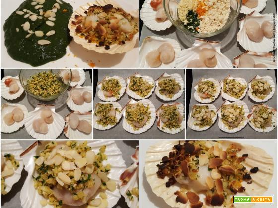 Canestrelli gratinati al forno con mandorle e crema di spinaci