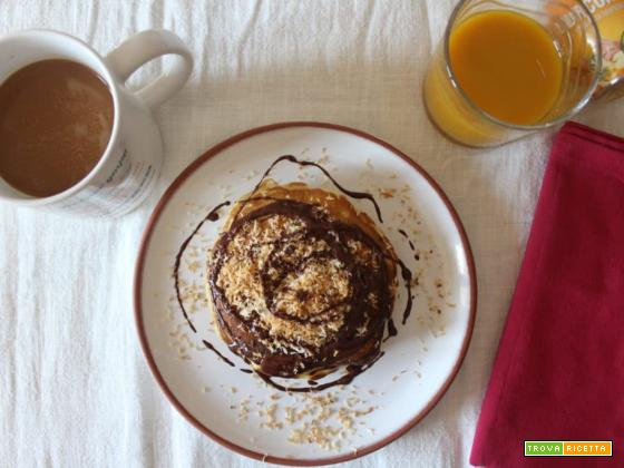 Pancakes al cocco e cioccolato